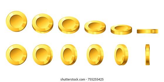 Vector cartoon style illustration of golden coins.