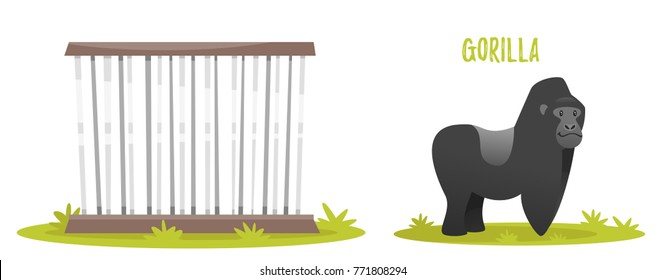 Vector cartoon style illustration of gorilla. Zoo cage. isolated on white background.