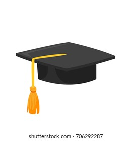 Vector cartoon style illustration of graduation cap. Icon for web. Isolated on white background.