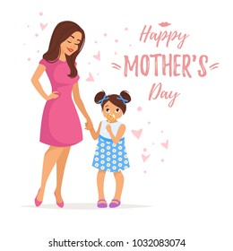Vector cartoon style illustration of happy mother with daughter . Mother's day greeting card template on white background.