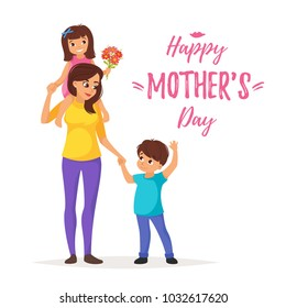 Vector cartoon style illustration of happy mother standing with son and daughter. Mother's day greeting card template on white background.
