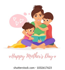 Vector cartoon style illustration of happy mother with son and daughter reading a book. Mother's day greeting card template on white background.