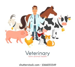 Vector cartoon style illustration of happy veterinarian doctor character surrounded by farm animals: cow, dog, pig et?. Isolated on white background.