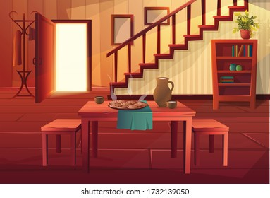 Vector cartoon style illustration of house interior. Entrance open door with stairs and rustic vintage furniture and wooden floor. Dining table with hot meal on it.