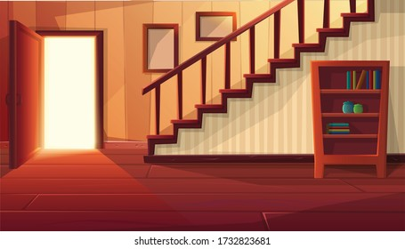 Vector cartoon style illustration of house interior. Entrance open door with stairs and rustic vintage furniture and wooden floor.