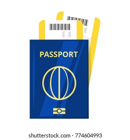 Vector cartoon style illustration of international passport and tickets. Travel and tourism.