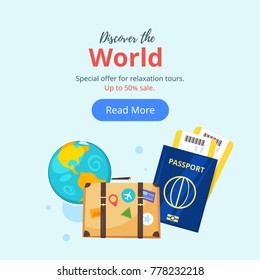 Vector cartoon style illustration of journey theme objects. Travel and tourism. Advertisement poster or banner template. Discover the world text.
