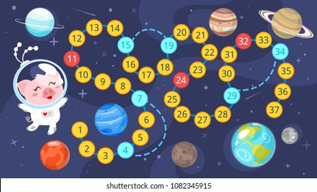 Vector cartoon style illustration of kids space board game template. Help little pig to reach the Earth. For print. Horizontal composition