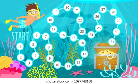 Vector cartoon style illustration of kids board game template with sea life. Help little diver to reach the treasure at the sea bottom. For print. Horizontal composition underwater background .
