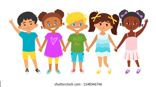 Vector cartoon style illustration of kids standing in a row and holding hands of each other. Background with multicultural children.