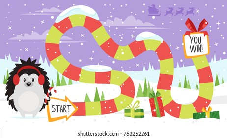 Vector cartoon style illustration of kids Christmas board game with hedgehog holding candy cane template. For print.