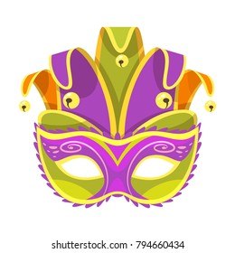 Vector  cartoon style illustration of Mardi Gras colorful holiday jester mask