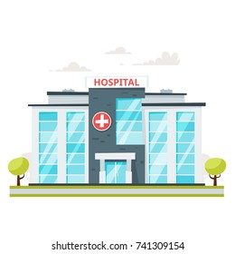 Vector cartoon style illustration of medical hospital building. Isolated on white background.