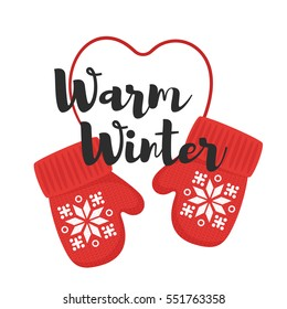 "Vector cartoon style illustration of mittens with title ""warm winter"". Icon for web. Isolated on white background. Greeting card template."