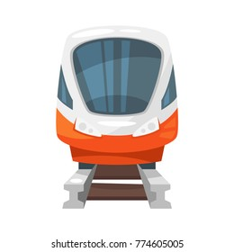 Vector cartoon style illustration of modern speed train - front view. Travel and tourism transport.