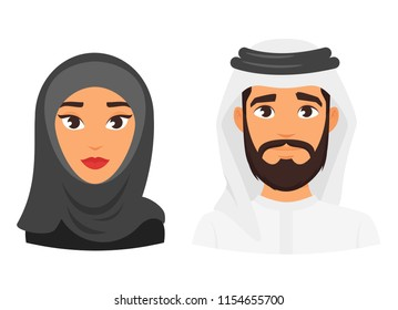 Vector cartoon style illustration of Muslim Arabic traditional clothing avatar. Young Man and woman Isolated on white background. Icon for web.
