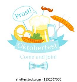 Vector cartoon style illustration of Octoberfest greeting card, banner or poster template. Beer festival celebration design. Composition with pretzel, beer mug and sausage.