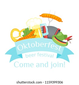 Vector cartoon style illustration of Octoberfest greeting card, banner or poster template. Beer festival celebration design. Composition with pretzel, beer mug and sausage.