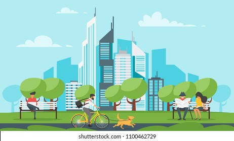 Vector cartoon style illustration of park with city at the background. Urban skyline with modern skyscrapers. Outdoor activity: people resting and riding bike with pets. Modern lifestyle.