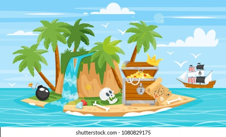 Vector cartoon style illustration of pirate ship, island and treasure chest full of gold.  Tropical island with palm trees in the sea.