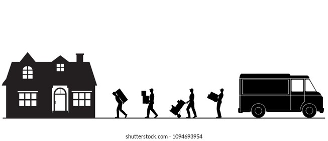 Vector cartoon style illustration porters carry  boxes. Moving to a new house. Unloading a truck.Transport company. Goods delivery