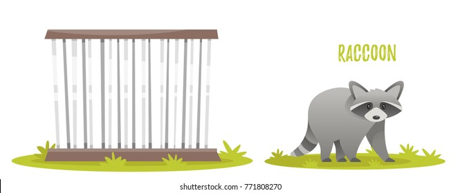 Vector cartoon style illustration of raccoon. Zoo cage. isolated on white background.