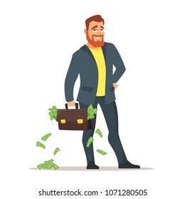 Vector cartoon style illustration of red bearded businessman with suitcase full of money. Investor concept.
