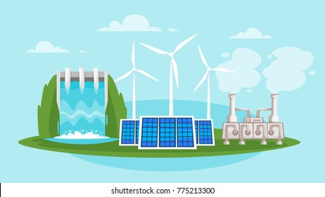 Vector cartoon style illustration of Renewable and sustainable energy source - wind mills and solar panels. Environmental and ecology concept. Horizontal composition of background.