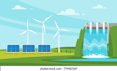 Vector cartoon style illustration of Renewable and sustainable energy sources - wind mill and solar panels. Environmental and ecology concept. Horizontal composition of background.