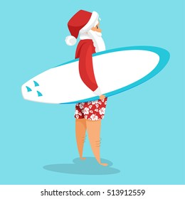 Vector cartoon style illustration of Santa surfer. Holiday greeting card template. Isolated on blue background.