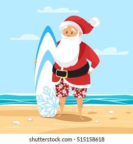 Vector cartoon style illustration of Santa surfer. Holiday greeting card template.