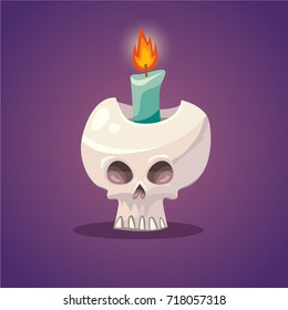 Vector cartoon style illustration of skull with flaming candle inside