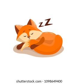 Vector cartoon style illustration of sleeping fox. Icon for web. Isolated on white background.