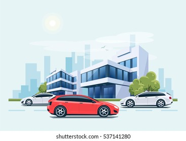 Vector cartoon style illustration of street with cars and modern business office building with green trees in background. Heavy traffic on the road. House has glass facade.