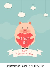 Vector cartoon style illustration of Valentine's day romantic gift card with cute pig holding heart in his hands. Be My Valentine text