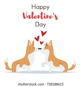 Vector cartoon style illustration of Valentines Day Holiday card template with dogs. Isolated on white background.