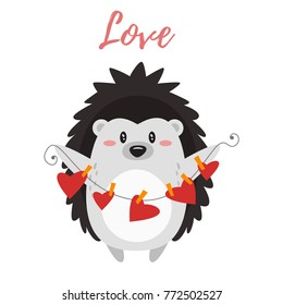 Vector cartoon style illustration of Valentine's day romantic gift card with cute hedgehog.
