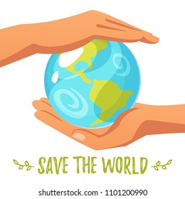 Vector cartoon style illustration of World Environment Day greeting card template or poster design. Planet Earth lies in the hand. Save the world text.