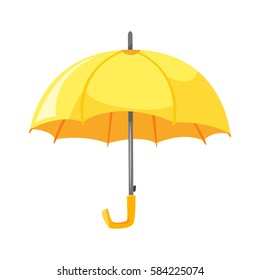 Vector cartoon style illustration of yellow umbrella. Icon for web. Isolated on white background.