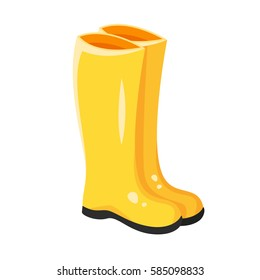 Vector cartoon style illustration of yellow rubber boots. Icon for web. Isolated on white background.