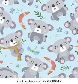 vector cartoon style koala seamless pattern