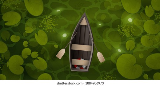 Vector cartoon style landscape of green river or ocher surface with aquatic plants and empty rowing boat with two oars. Wooden boat floats through the swamp with water lily leaves, top view.