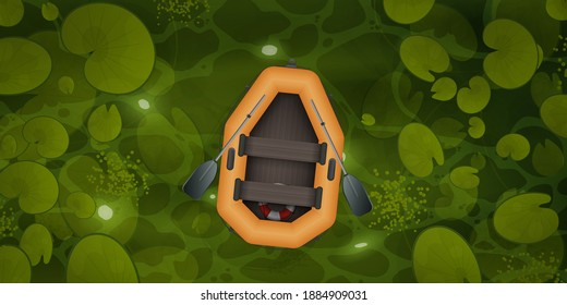 Vector cartoon style landscape of green river or ocher surface with aquatic plants and empty rowing boat with two oars. A rubber orange boat floats through a swamp with water lily leaves, top view.