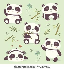 vector cartoon style panda set