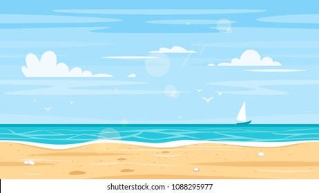 Vector cartoon style paradise island.  Seamless landscape with sea shore. Good sunny day. Horizontal background. Ready for parallax effect for web, games and animation.