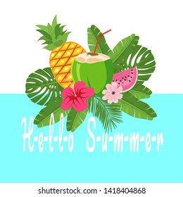 Vector cartoon style Paradise summer design for season postcard or poster with floral composition with tropical leaves, flowers and pineapple. Colorful vibrant template for print. vector.