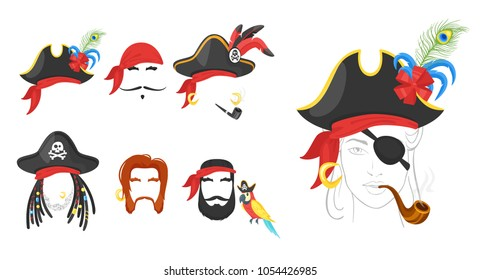 Vector cartoon style pirate faces elements or carnival masks, hats, bandana, beards and smoking pipes. Decoration items for your selfie photo and video chat filter.