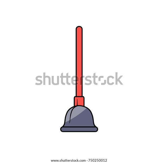 Vector Cartoon Style Plumbing Plunger Red Stock Vector