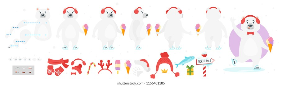 Vector cartoon style polar bear character for animation. Different emotions and winter symbols. Isolated on white background.