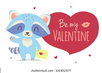 Vector cartoon style raccon with envelop St. Valentine's dat greeting card illustration